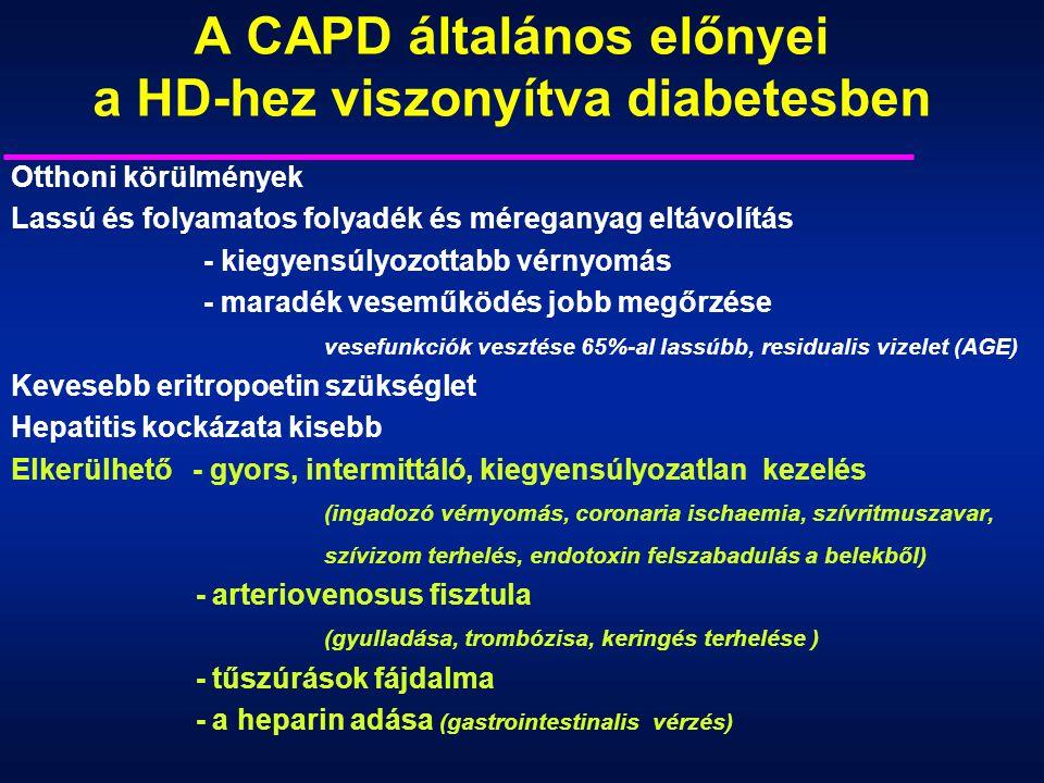 A CAPD általános előnyei a HD-hez viszonyítva diabetesben