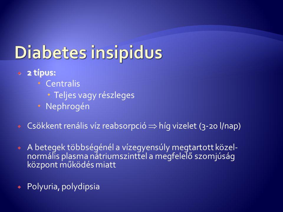 Diabetes insipidus Centralis Teljes vagy részleges Nephrogén 2 típus: