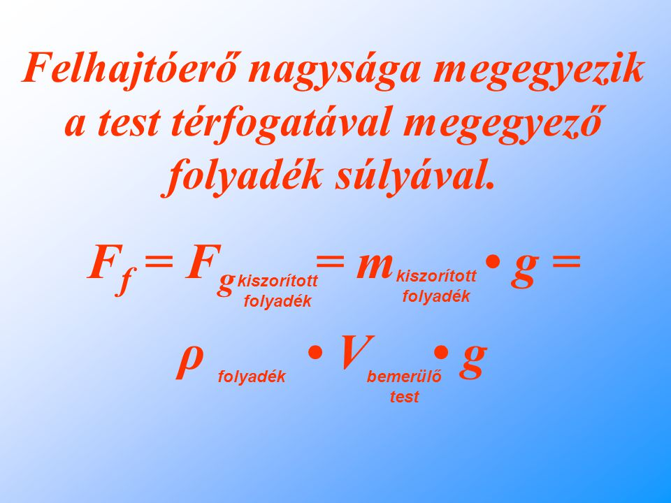 Felhajtóerő nagysága megegyezik a test térfogatával megegyező folyadék súlyával.