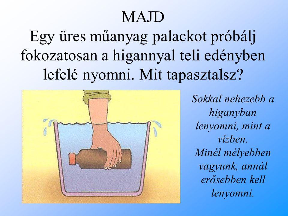MAJD Egy üres műanyag palackot próbálj fokozatosan a higannyal teli edényben lefelé nyomni. Mit tapasztalsz