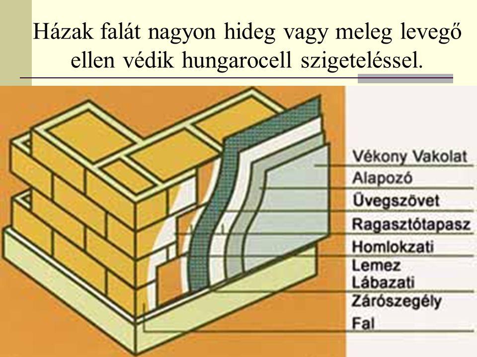 Házak falát nagyon hideg vagy meleg levegő ellen védik hungarocell szigeteléssel.