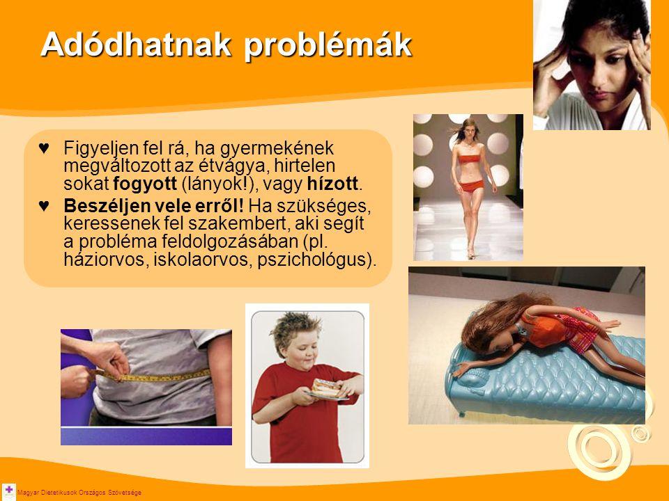 Adódhatnak problémák Figyeljen fel rá, ha gyermekének megváltozott az étvágya, hirtelen sokat fogyott (lányok!), vagy hízott.