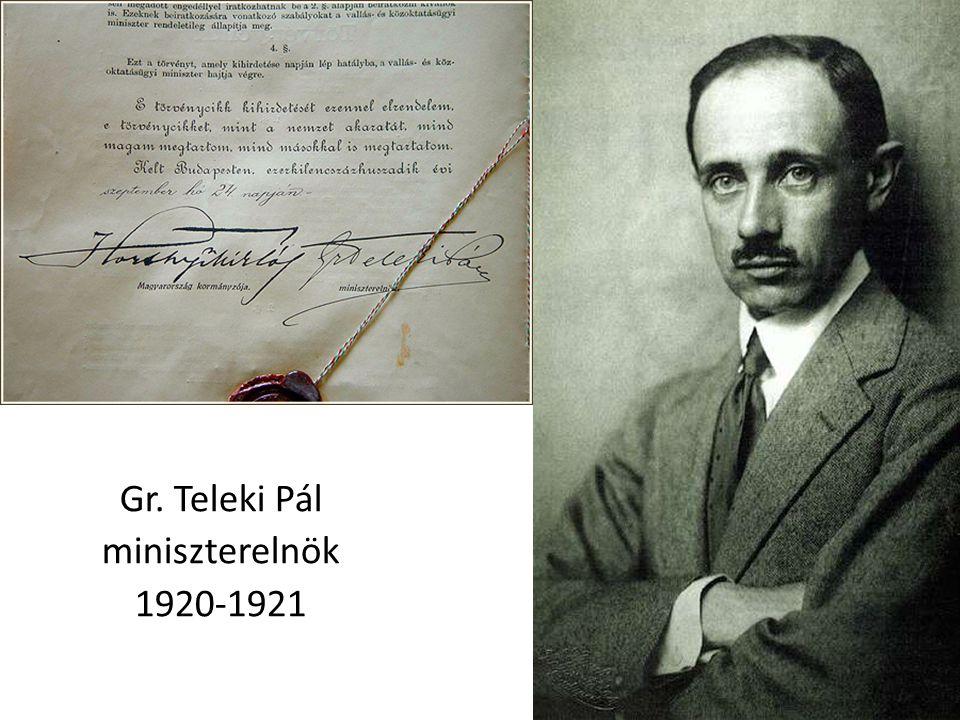 Gr. Teleki Pál miniszterelnök 1920-1921