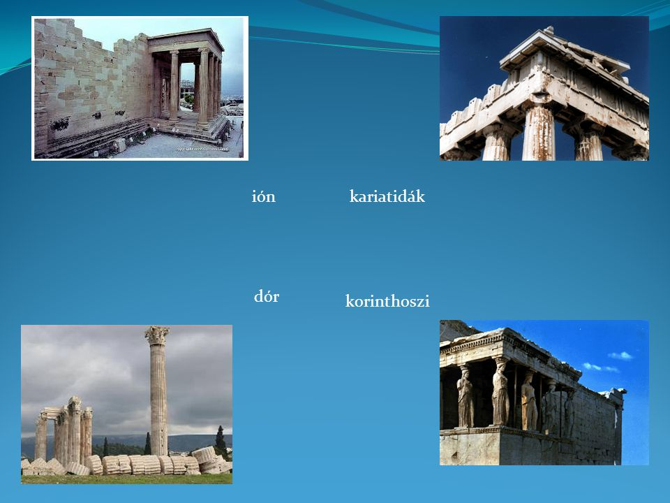 ión kariatidák dór korinthoszi