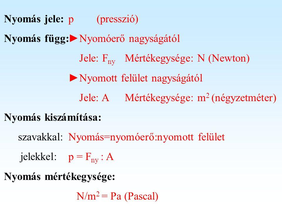 Nyomás mértékegysége: p (presszió) ►Nyomóerő nagyságától