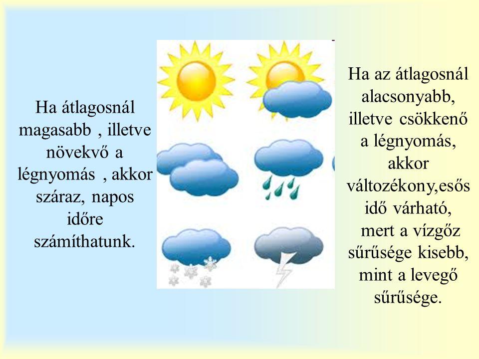 Ha átlagosnál magasabb , illetve növekvő a légnyomás , akkor száraz, napos időre számíthatunk.