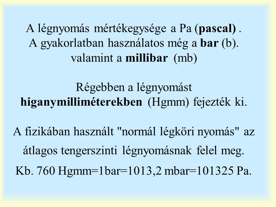 A légnyomás mértékegysége a Pa (pascal)