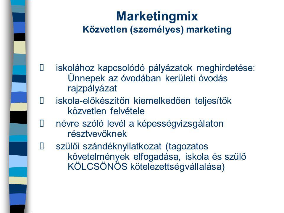 Marketingmix Közvetlen (személyes) marketing