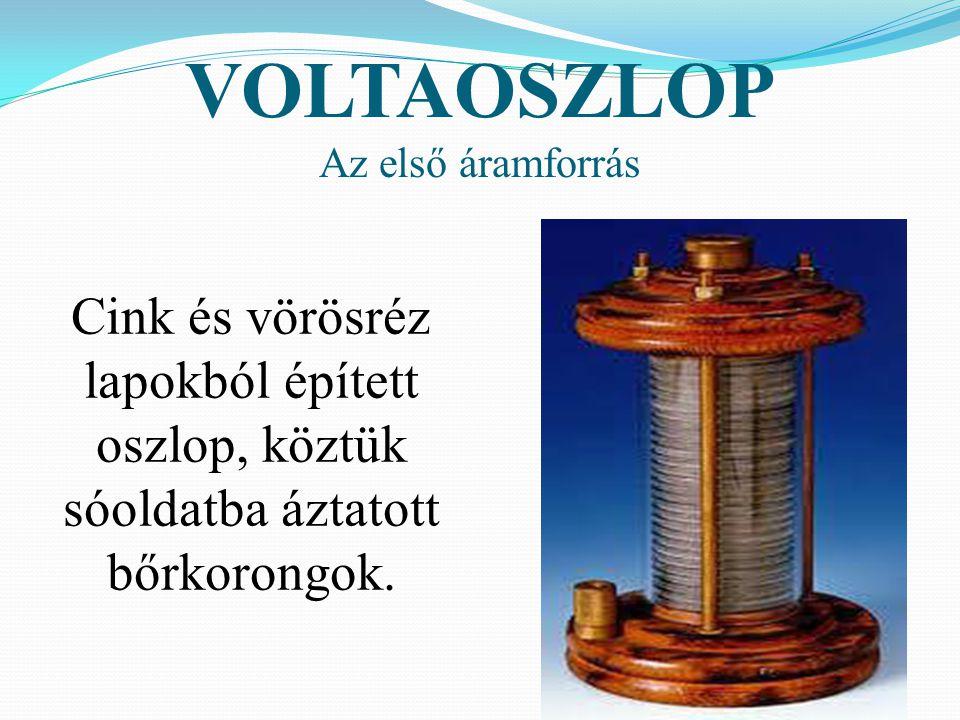 VOLTAOSZLOP Az első áramforrás.