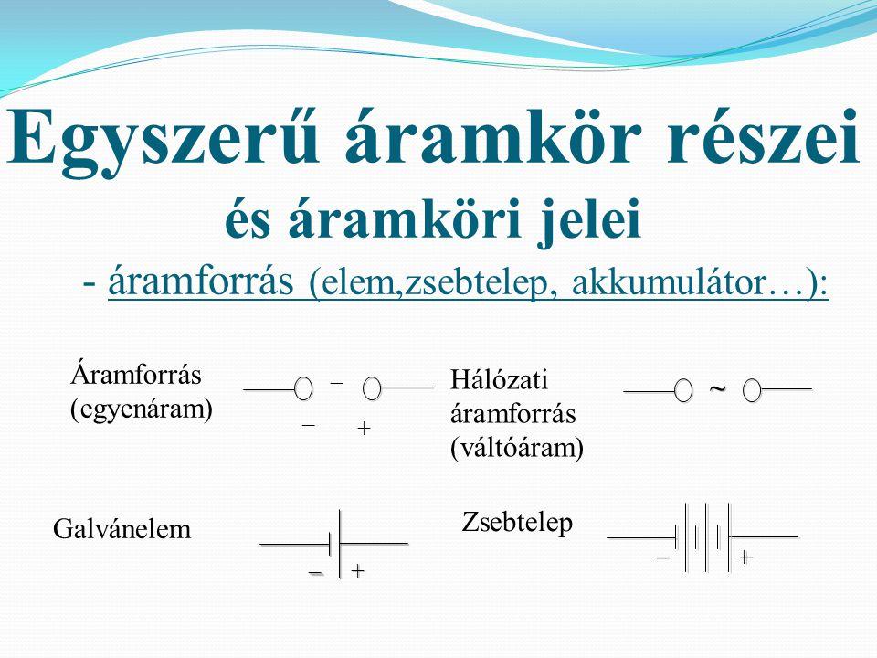 Egyszerű áramkör részei és áramköri jelei