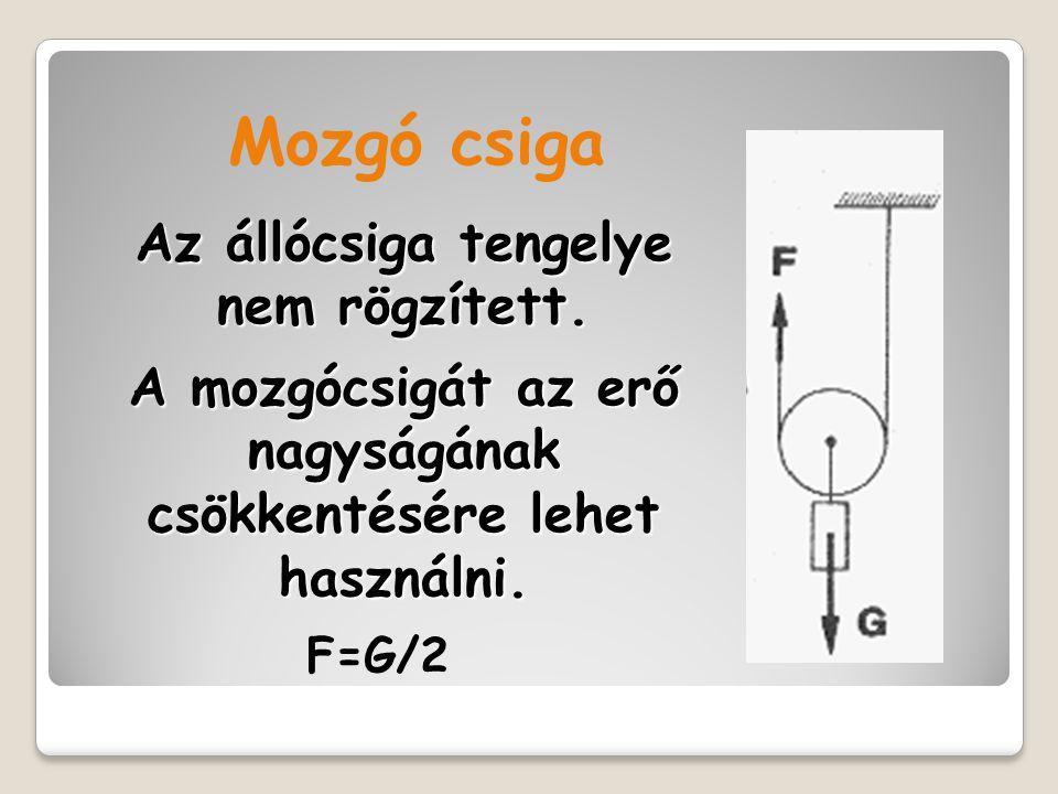 Mozgó csiga Az állócsiga tengelye nem rögzített. A mozgócsigát az erő nagyságának csökkentésére lehet használni.