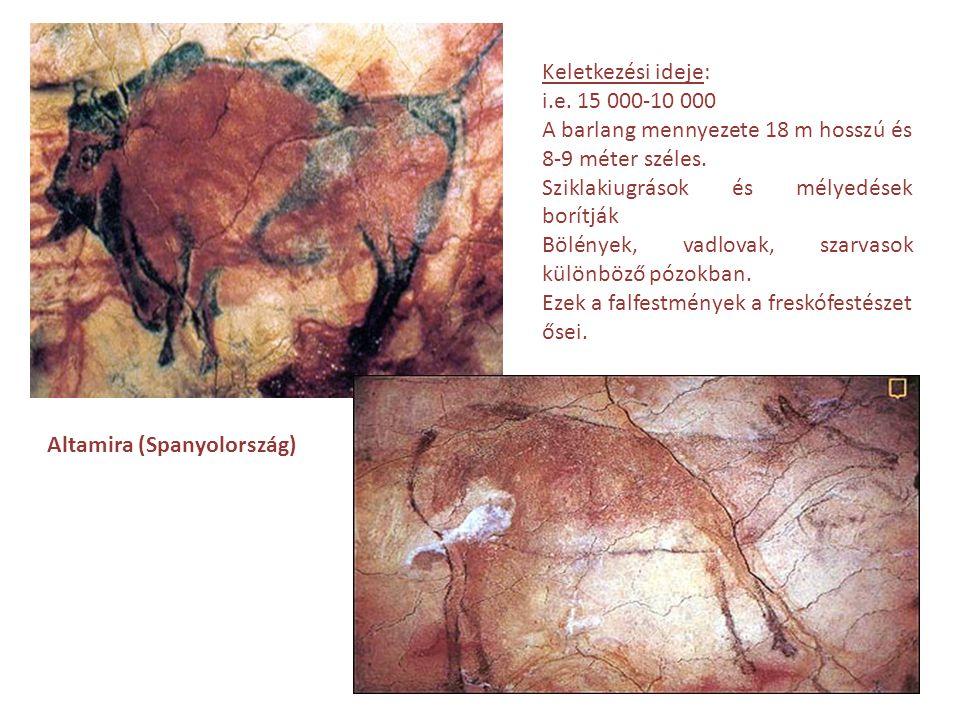 Keletkezési ideje: i.e. 15 000-10 000. A barlang mennyezete 18 m hosszú és 8-9 méter széles. Sziklakiugrások és mélyedések borítják.