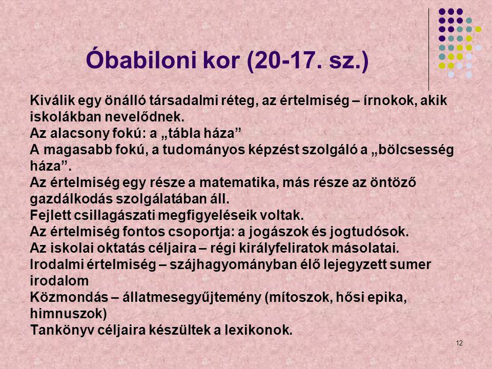 Óbabiloni kor (20-17. sz.) Kiválik egy önálló társadalmi réteg, az értelmiség – írnokok, akik. iskolákban nevelődnek.