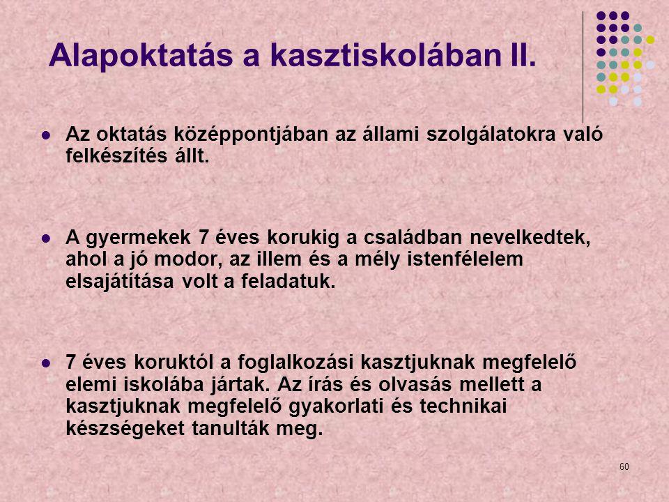 Alapoktatás a kasztiskolában II.