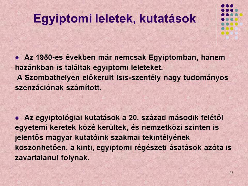 Egyiptomi leletek, kutatások