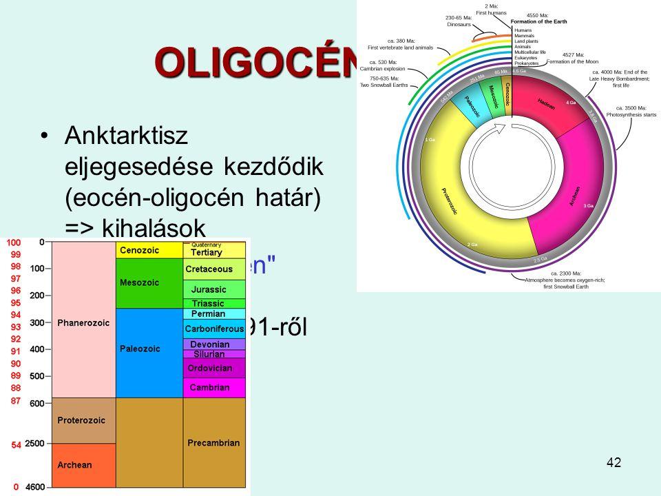 OLIGOCÉN 35-24 Anktarktisz eljegesedése kezdődik (eocén-oligocén határ) => kihalások.