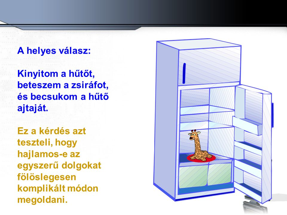 A helyes válasz: Kinyitom a hűtőt, beteszem a zsiráfot, és becsukom a hűtő ajtaját.