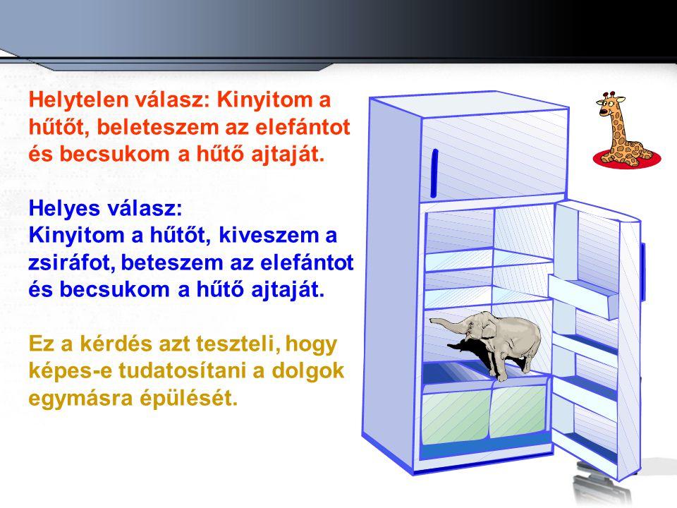 Helytelen válasz: Kinyitom a hűtőt, beleteszem az elefántot és becsukom a hűtő ajtaját.