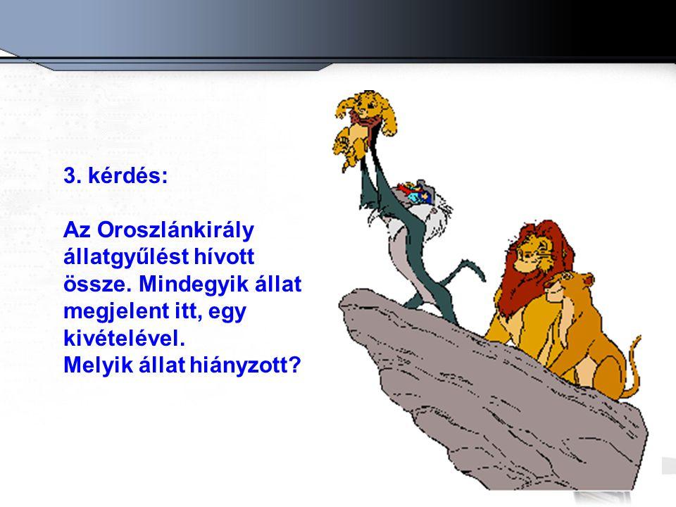 3. kérdés: Az Oroszlánkirály állatgyűlést hívott össze. Mindegyik állat megjelent itt, egy kivételével.
