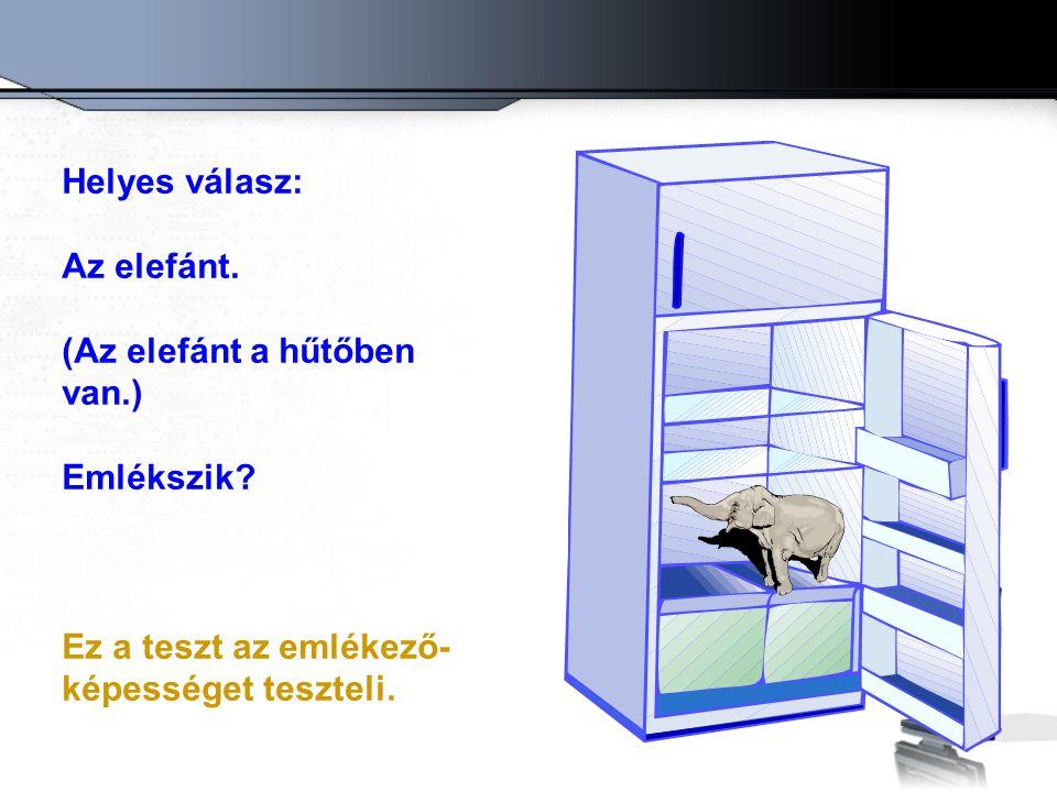 Helyes válasz: Az elefánt. (Az elefánt a hűtőben van.) Emlékszik.