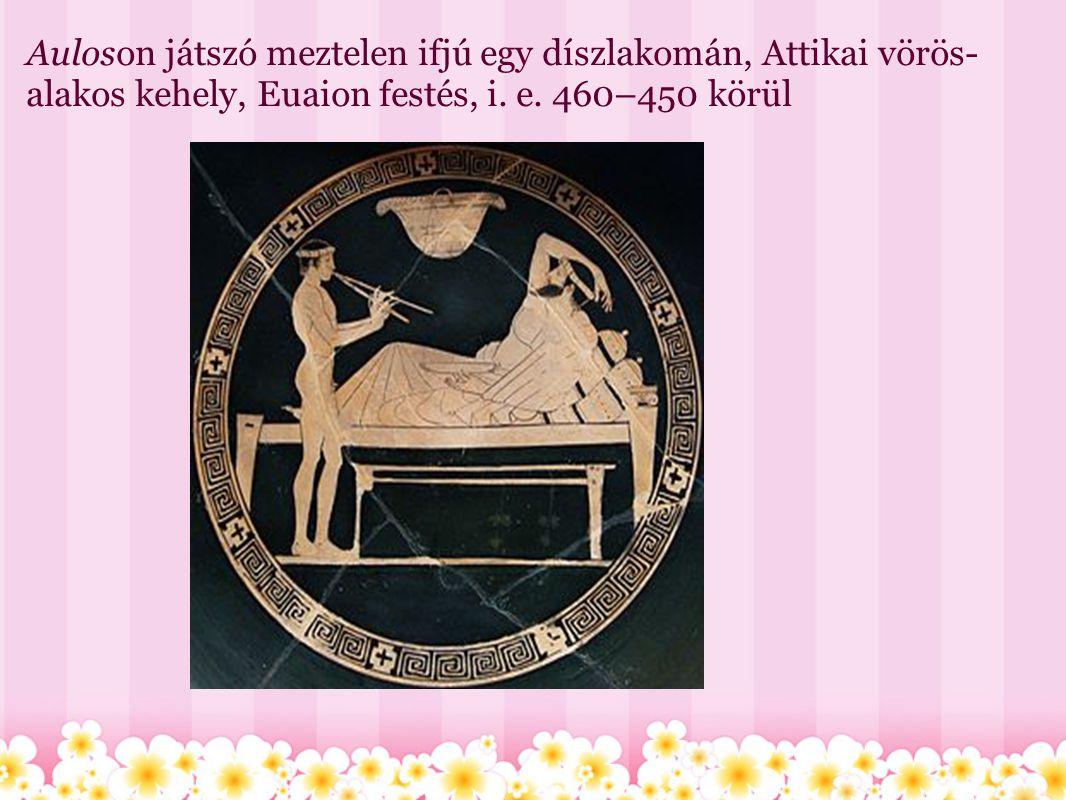 Auloson játszó meztelen ifjú egy díszlakomán, Attikai vörös-alakos kehely, Euaion festés, i. e. 460–450 körül