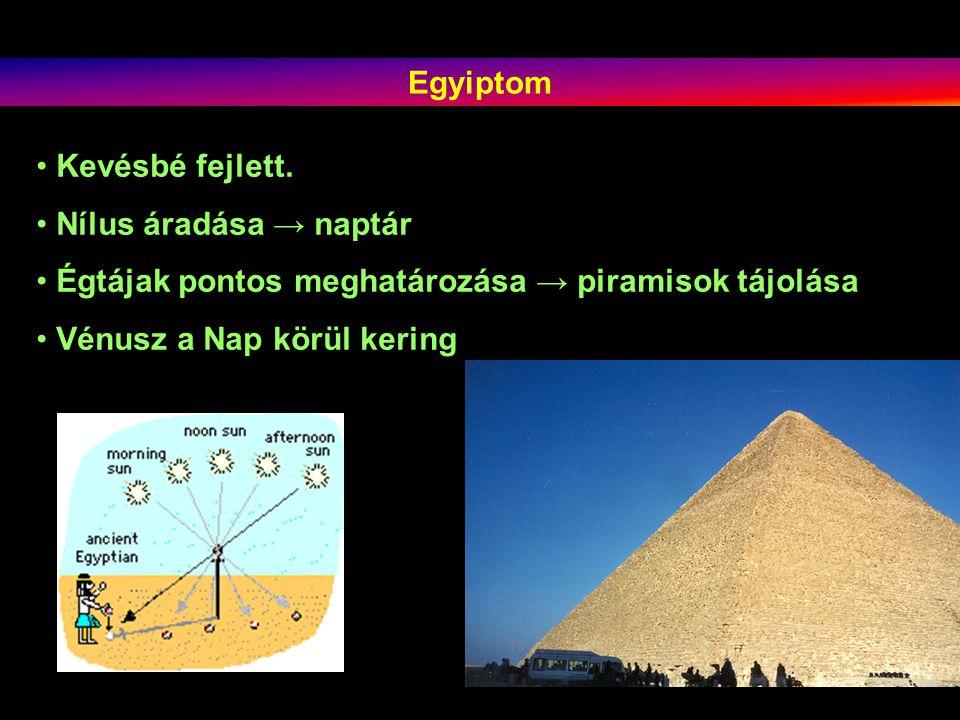 Egyiptom Kevésbé fejlett. Nílus áradása → naptár. Égtájak pontos meghatározása → piramisok tájolása.
