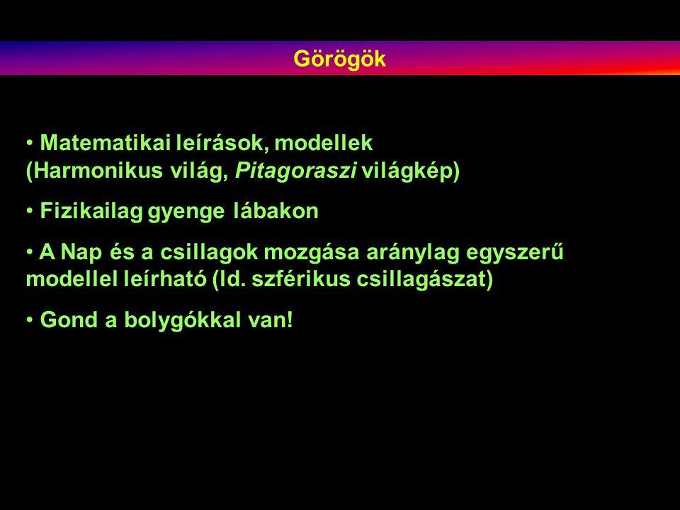 Görögök Matematikai leírások, modellek. (Harmonikus világ, Pitagoraszi világkép) Fizikailag gyenge lábakon.