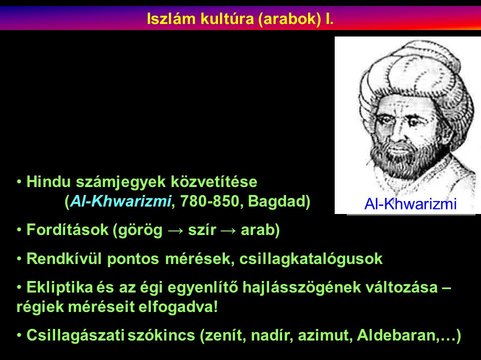 Iszlám kultúra (arabok) I.