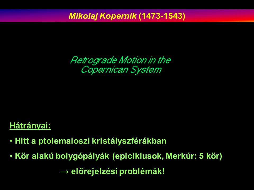 Mikolaj Kopernik (1473-1543) Hátrányai: Hitt a ptolemaioszi kristályszférákban. Kör alakú bolygópályák (epiciklusok, Merkúr: 5 kör)