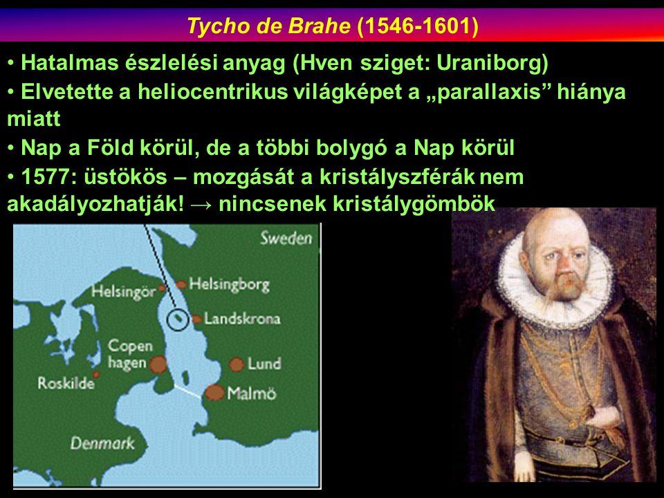 """Tycho de Brahe (1546-1601) Hatalmas észlelési anyag (Hven sziget: Uraniborg) Elvetette a heliocentrikus világképet a """"parallaxis hiánya miatt."""