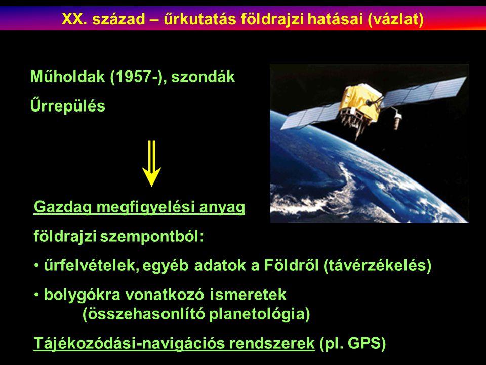 XX. század – űrkutatás földrajzi hatásai (vázlat)