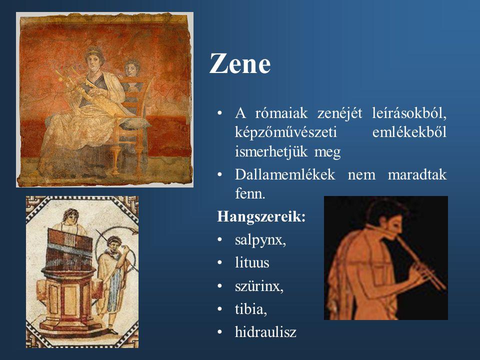 Zene A rómaiak zenéjét leírásokból, képzőművészeti emlékekből ismerhetjük meg. Dallamemlékek nem maradtak fenn.