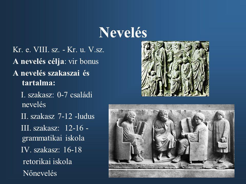 Nevelés Kr. e. VIII. sz. - Kr. u. V.sz. A nevelés célja: vir bonus