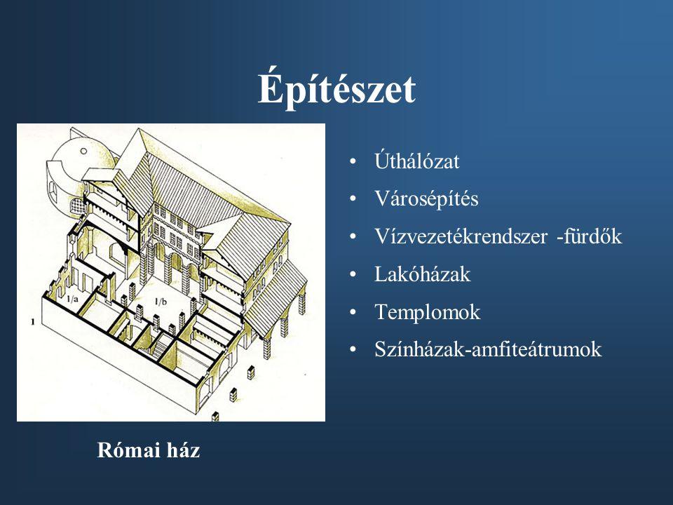 Építészet Úthálózat Városépítés Vízvezetékrendszer -fürdők Lakóházak