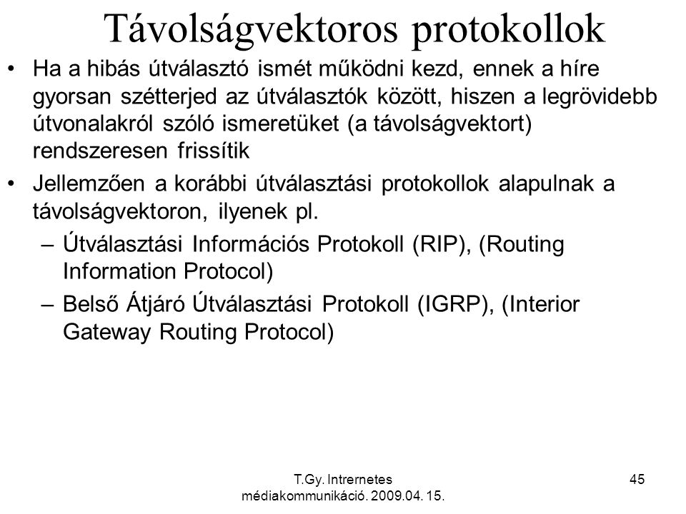 Távolságvektoros protokollok