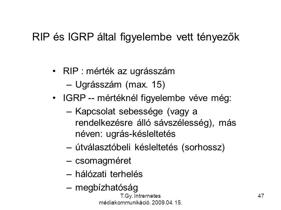 RIP és IGRP által figyelembe vett tényezők