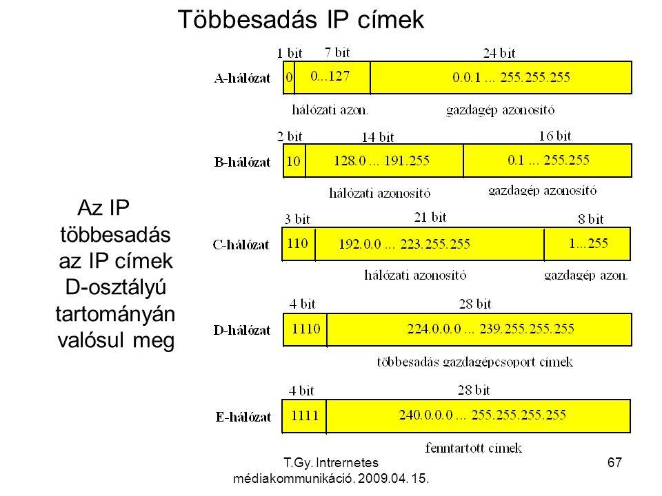 Többesadás IP címek Az IP többesadás az IP címek D-osztályú tartományán valósul meg.