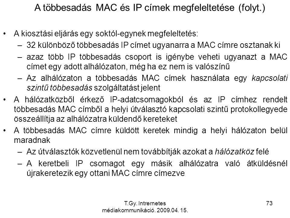 A többesadás MAC és IP címek megfeleltetése (folyt.)