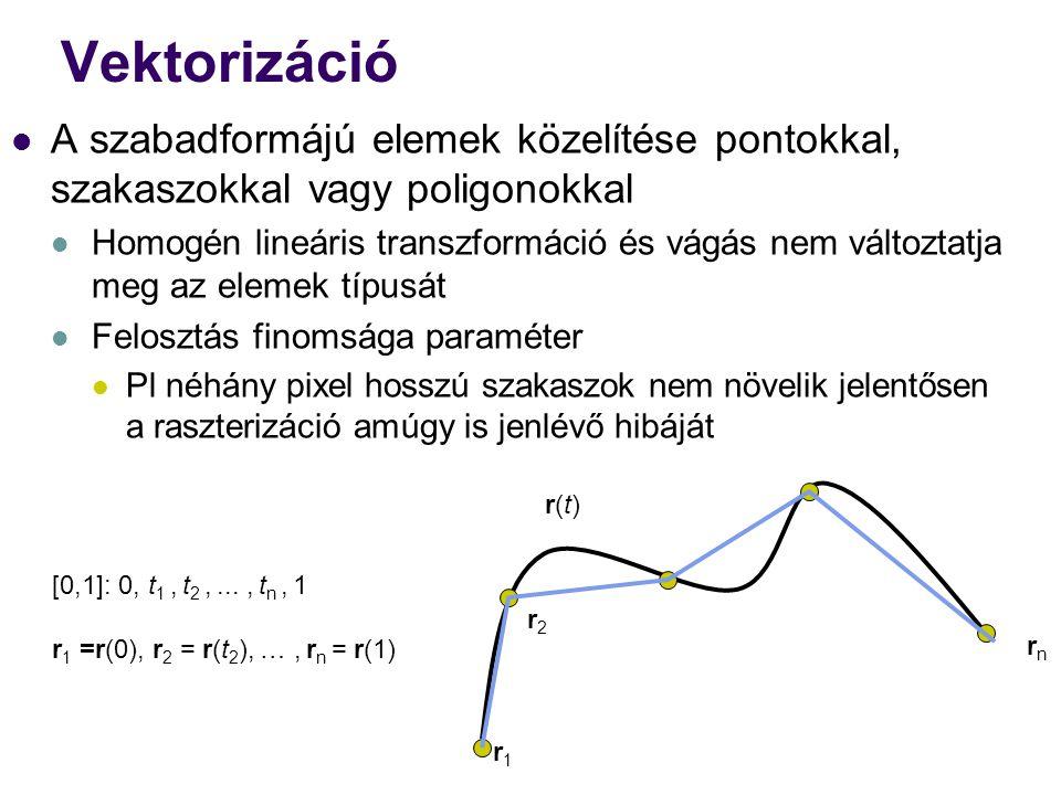 Vektorizáció A szabadformájú elemek közelítése pontokkal, szakaszokkal vagy poligonokkal.