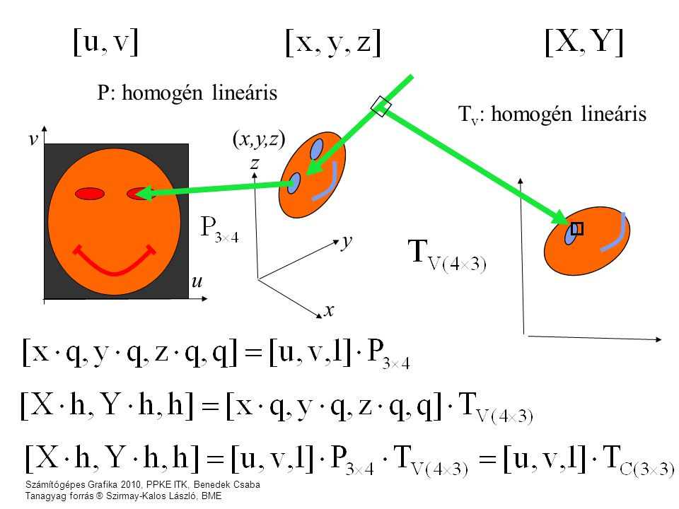 P: homogén lineáris Tv: homogén lineáris u v (x,y,z) z y x