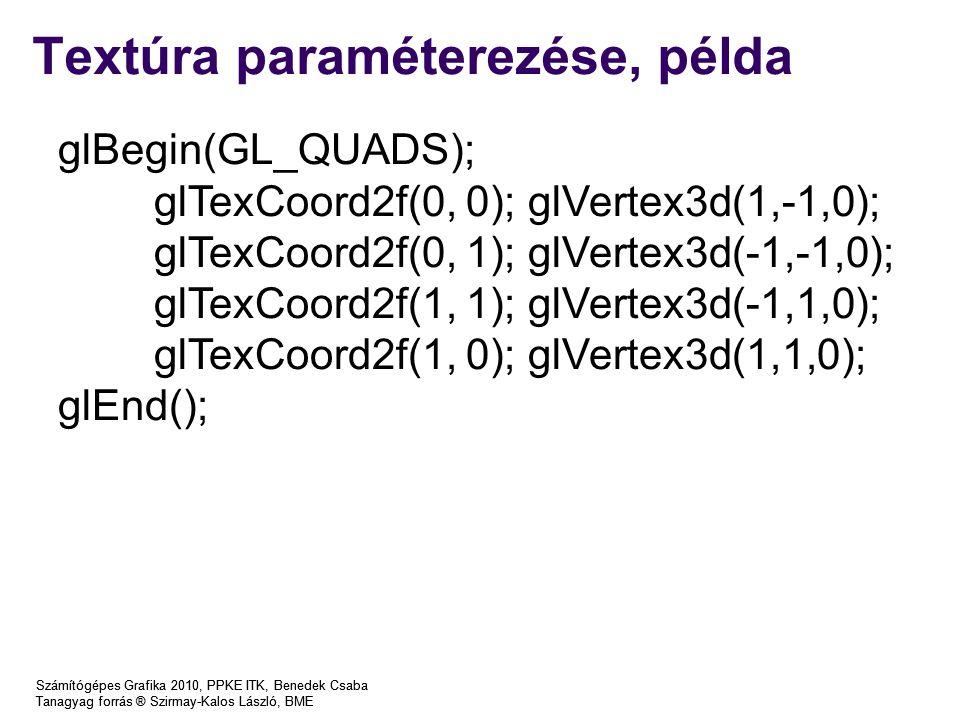 Textúra paraméterezése, példa