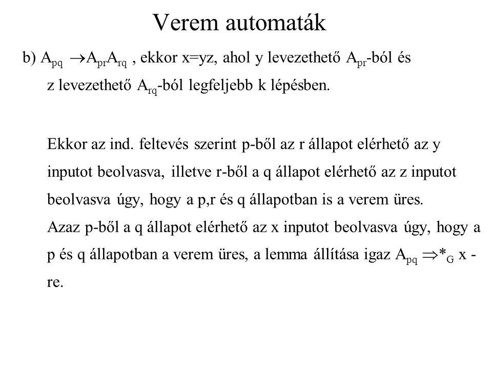 Verem automaták b) Apq AprArq , ekkor x=yz, ahol y levezethető Apr-ból és z levezethető Arq-ból legfeljebb k lépésben.