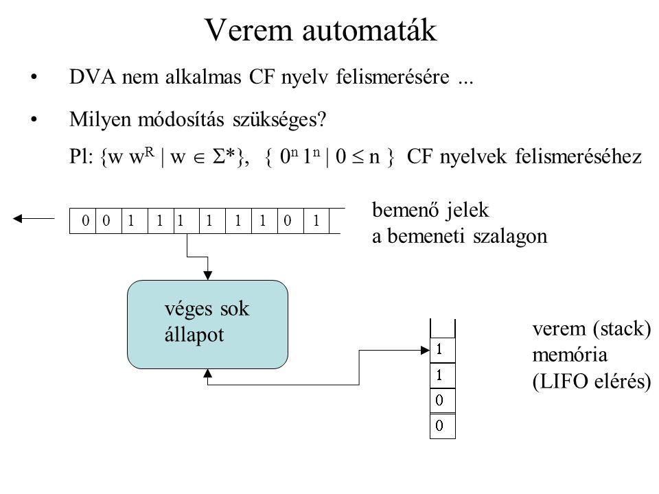 Verem automaták DVA nem alkalmas CF nyelv felismerésére ...