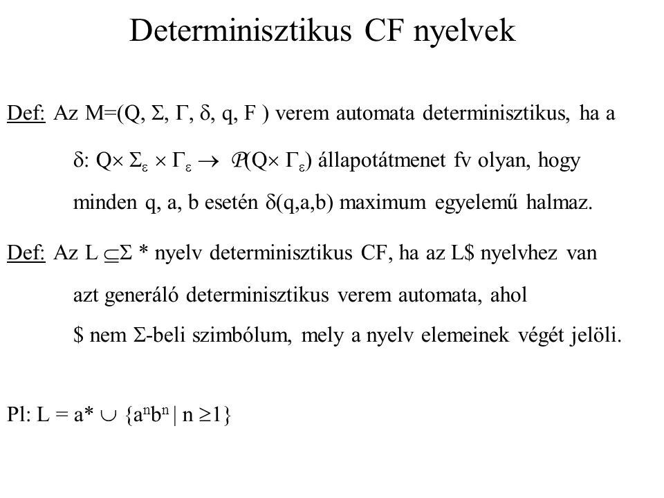 Determinisztikus CF nyelvek