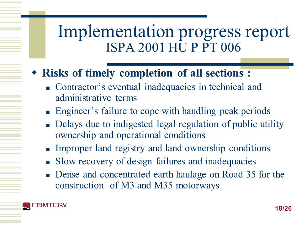 Implementation progress report ISPA 2001 HU P PT 006