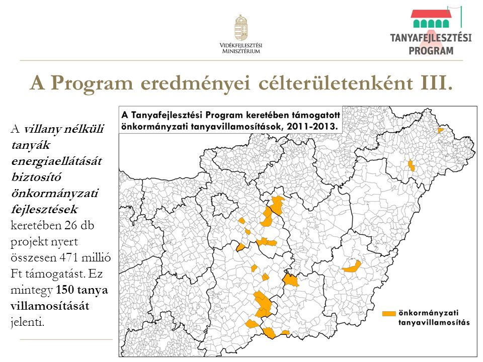 A Program eredményei célterületenként III.