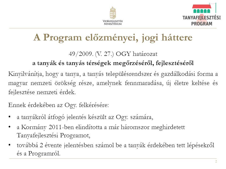 A Program előzményei, jogi háttere