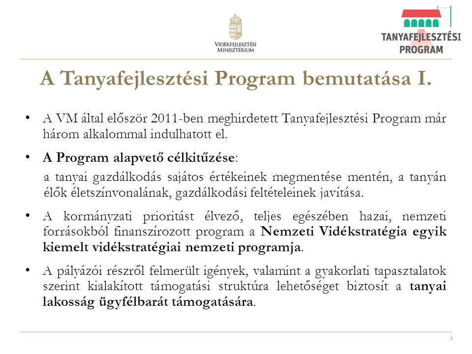 A Tanyafejlesztési Program bemutatása I.