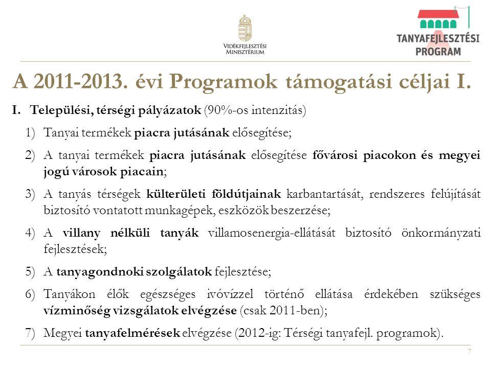 A 2011-2013. évi Programok támogatási céljai I.