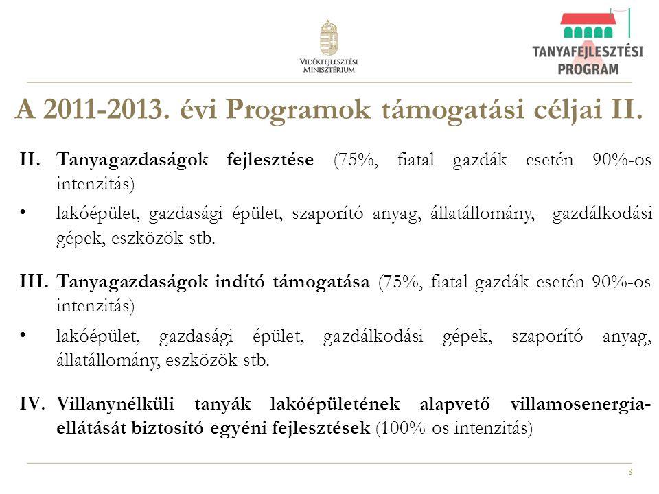 A 2011-2013. évi Programok támogatási céljai II.